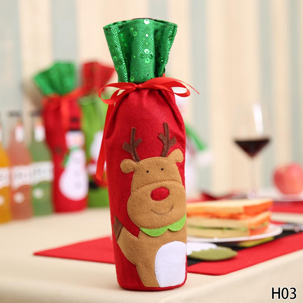 1PC Christmas Decorations For Home Santa Claus Wine Bottle
