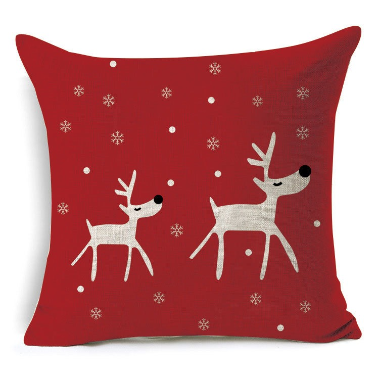 Christmas Xmas Linen Cushion Cover Throw Pillow Case Home: 1Pcs 43*43cm Christmas Deer Gifts Pattern Cotton Linen