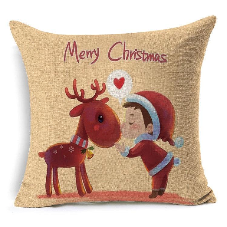 1Pcs 43 43cm Christmas Deer Gifts Pattern Cotton Linen Throw