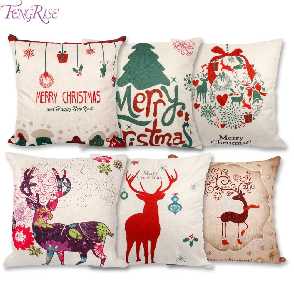 Shop Decorations For Christmas: Christmas Cotton Linen Pillow Case Decorations